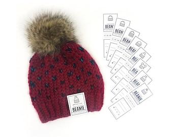 PRINTABLE Beanie Tags - 8pc Set - Downloadable PDF. Diy labels for pom pom, messy bun, fur pom, double brim, crochet or knit beanies hats