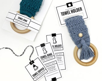PRINTABLE Towel Topper + Holder Tags - Digital PDF - Display tags cards and wrap labels for handmade towel toppers, Towel ring packaging