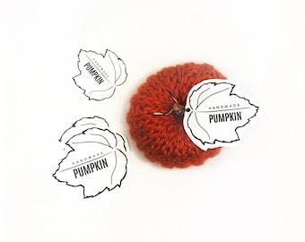 PRINTABLE Pumpkin Tags - Downloadable PDF - DIY display for handmade pumpkins. Crochet &  Knit pumpkin label. Modern Labels Fall template