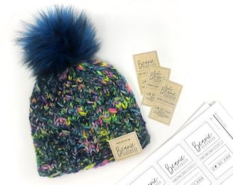 PRINTABLE Beanie + Baby Beanie Tags - Downloadable PDF - Simple Style - Includes tag for Removable / Detachable Pom hat. DIY  Beanies labels
