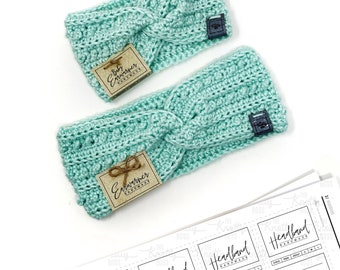 PRINTABLE Earwarmer + Headband Tags - Downloadable PDF - Simple Style - Labels for adult + baby ear warmers and headbands. Tags for Handmade