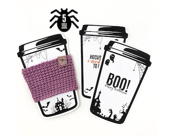 PRINTABLE Halloween Cup Cozy Display Templates - 5pc Downloadable PDF - Holiday Tags. Spooky + funny card for handmade cup holders + sleeves