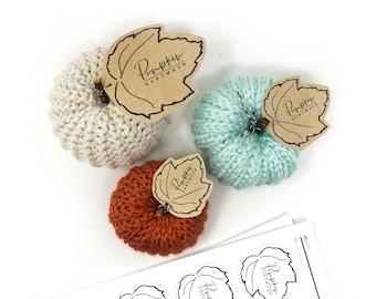 PRINTABLE Pumpkin Tags - 3 Sizes - Downloadable PDF - DIY display for handmade pumpkins. Crochet &  Knit pumpkin leaf labels. Simple Style.