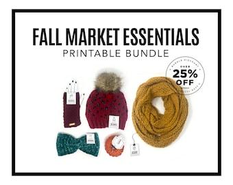 PRINTABLE BUNDLE - Fall Market Essentials Bundle - Downloadable PDF. Diy tags for earwarmers, beanies, fingerless gloves, scarves & pumpkins