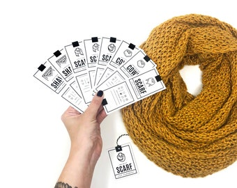 PRINTABLE Scarf / Cowl / Shawl Tags - 8pc Set - Downloadable PDF.  Price tags for knit or crochet Cowls, Shawls, Infinity & Triangle Scarves