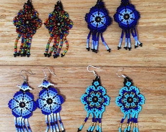 Peyote Huichol Design Hand beaded Flower Earrings. Fair Trade Female Indigenous Artisan Made. Ethically Sourced.