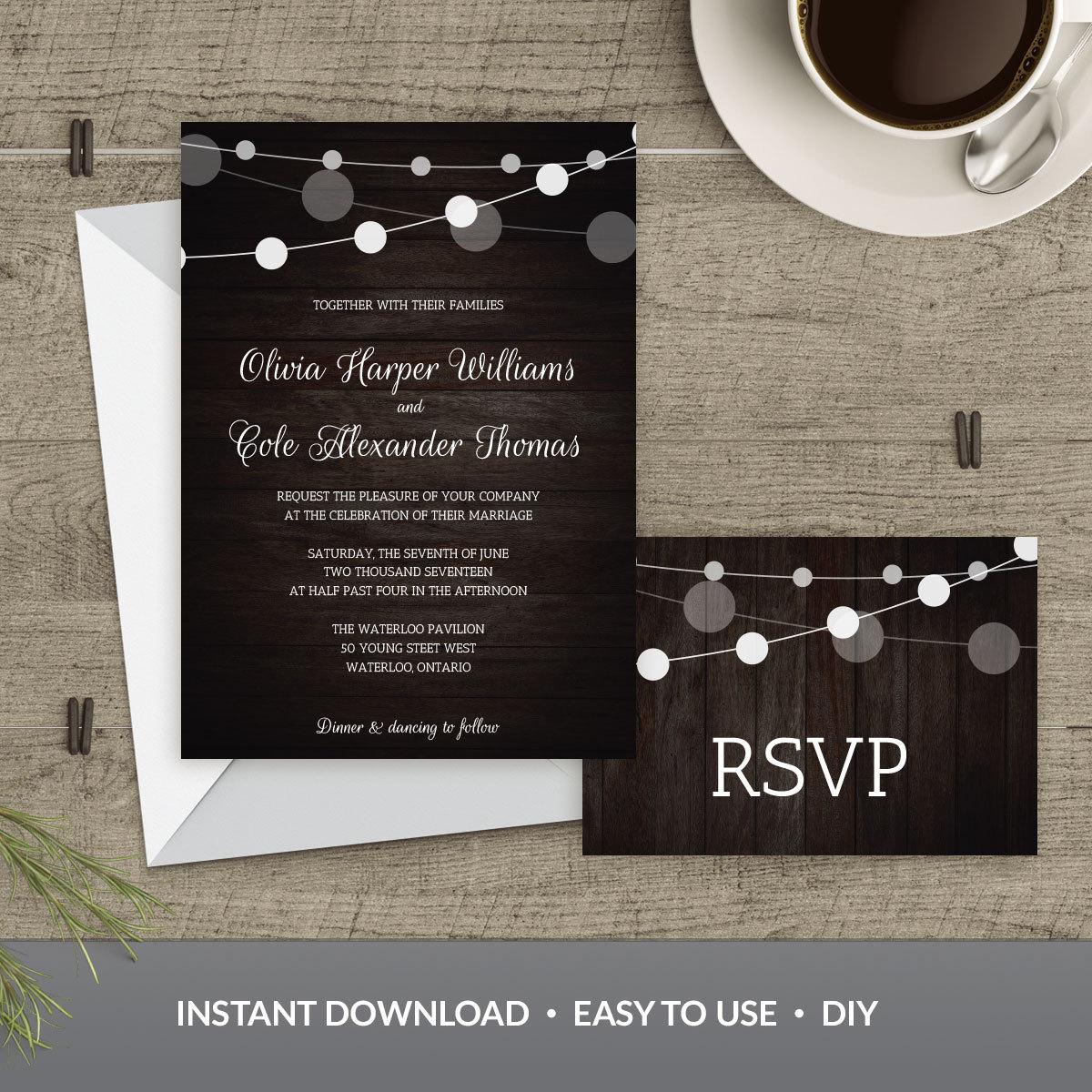Plantilla de invitación de boda luces de cuerda y madera | Etsy