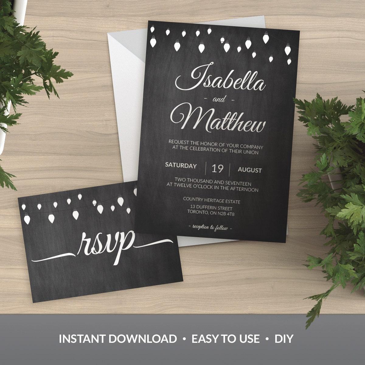 Chalkboard Wedding Invitation Template: Wedding Invitation Template Printable Chalkboard & Lights