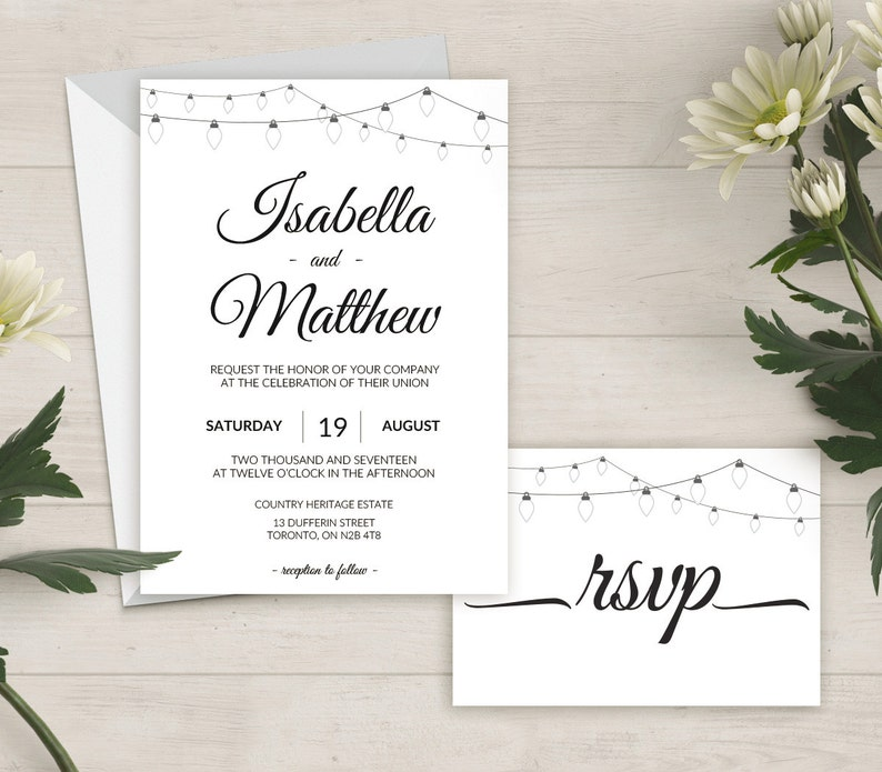 Printable Wedding Invite Wedding Invitation Set PDF #0000A Thank You Card RSVP Instant Download Details Card DIY Editable Template