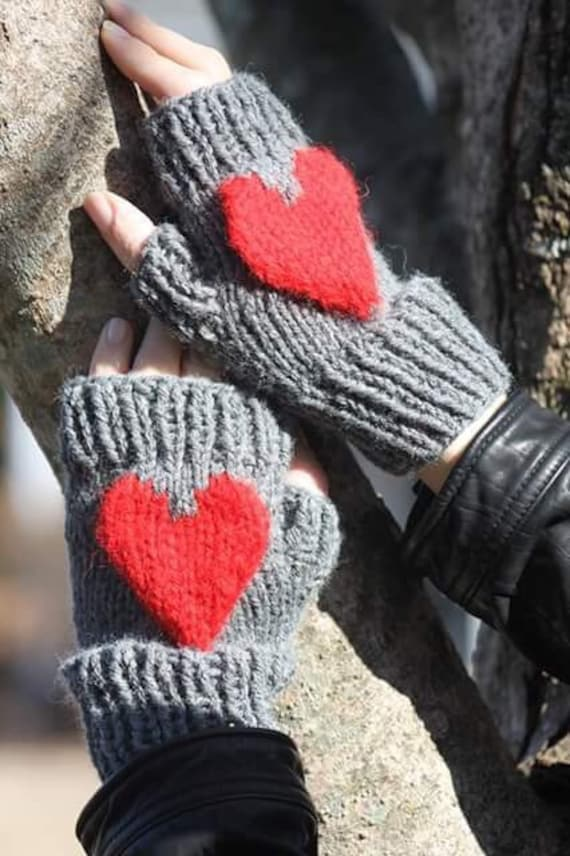 Fingerless Gloves Knitting Pattern Heart Mitten Knit Etsy