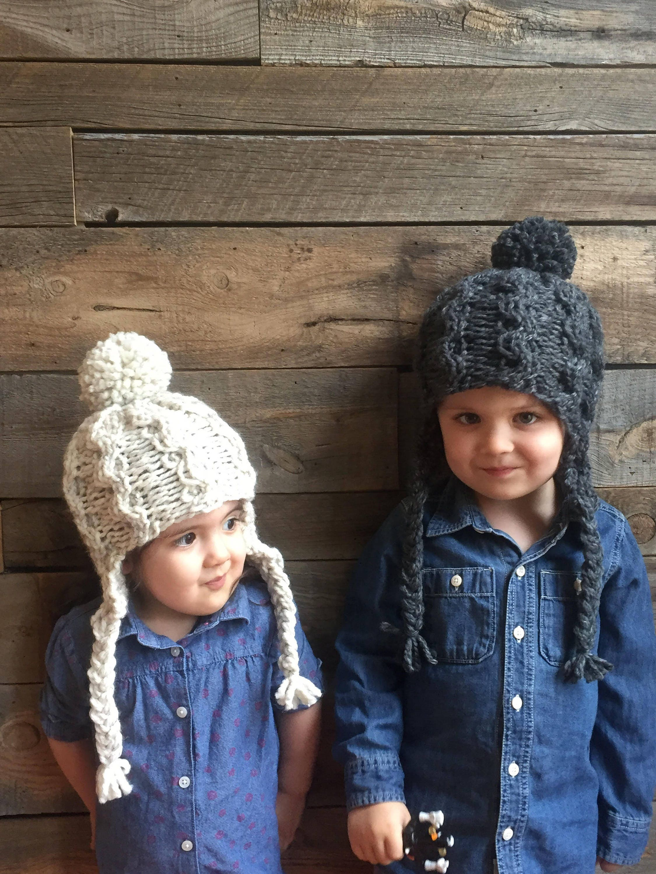 Cable Knit Hat Pattern- Earflap Hat Pattern- Kids Knit Hat- Cabled ...