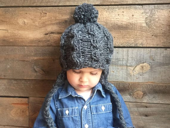 Cable Knit Hat Pattern Earflap Hat Pattern Kids Knit Hat Etsy