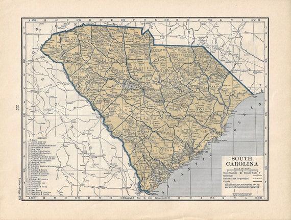 Vintage South Carolina Map.Vintage South Carolina Map 1939 Atlas Etsy