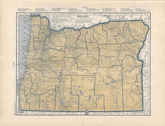 Vintage Oregon Map.Vintage Oregon Map 1939 Atlas Etsy