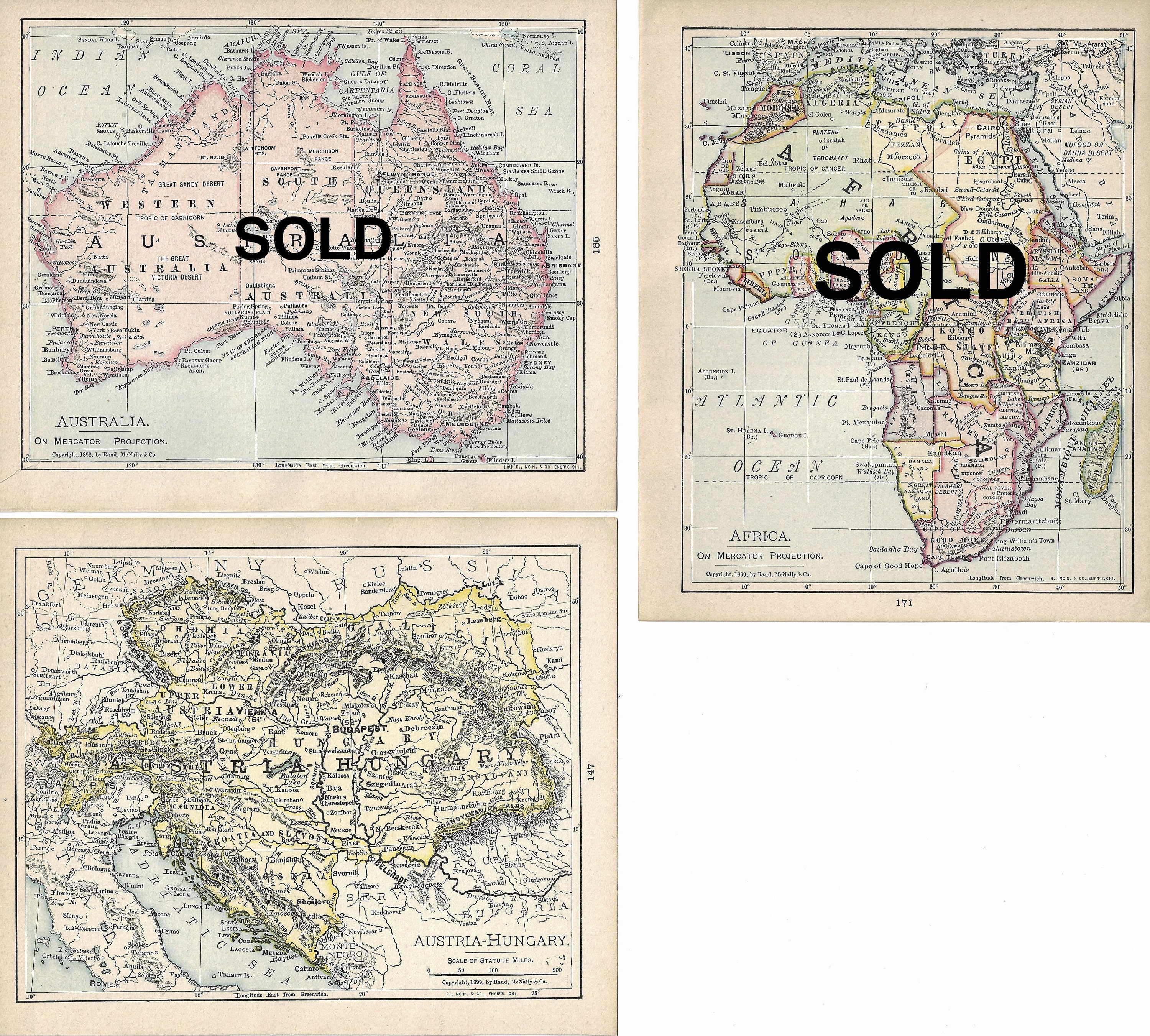 Small World Maps From 1900 5 75 X 7 Antique Atlas Maps Etsy