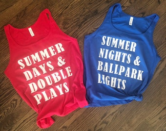 62b65a3b1f08 Summer Days and Double Plays Tank   Summer Nights and Ballpark Lights Tank    Baseball Mom Tank Top   Baseball Shirt   Baseball All Day Tank