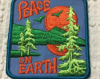 PEACE ON EARTH Nature Forest Sunrise Sunset Vintage Patch L@@K