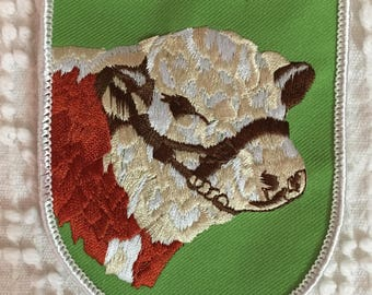 HEREFORD Cattle Patch Detailed Stitching MINT Condition Agriculture Farming Cow