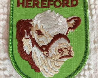 POLLED HEREFORD Cattle Patch Detailed Stitching MINT Condition Agriculture Farming Cow