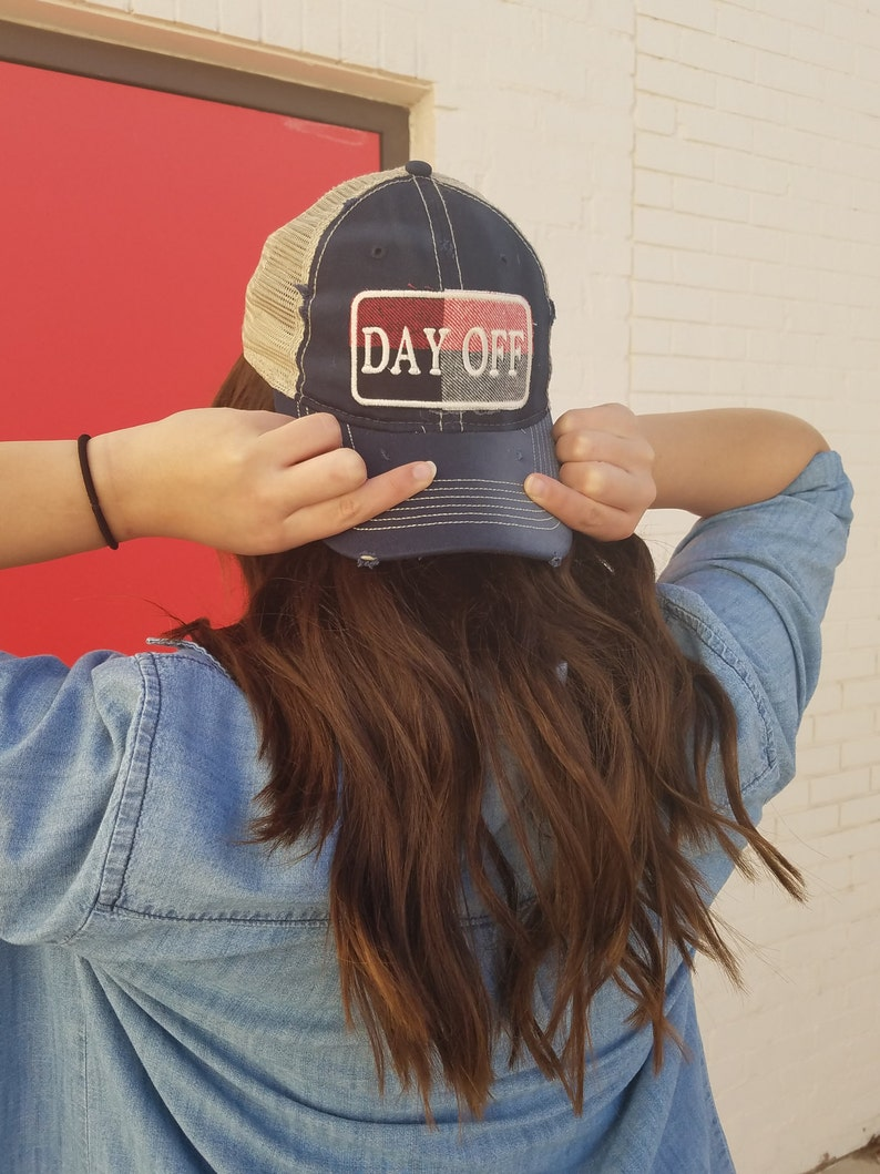b24682c69 Day Off Trucker Hat, Womens Trucker Hat, Ladies Ball Cap, Plaid Patch,  Embroidered Patch, Distressed Hat, Boutique hat