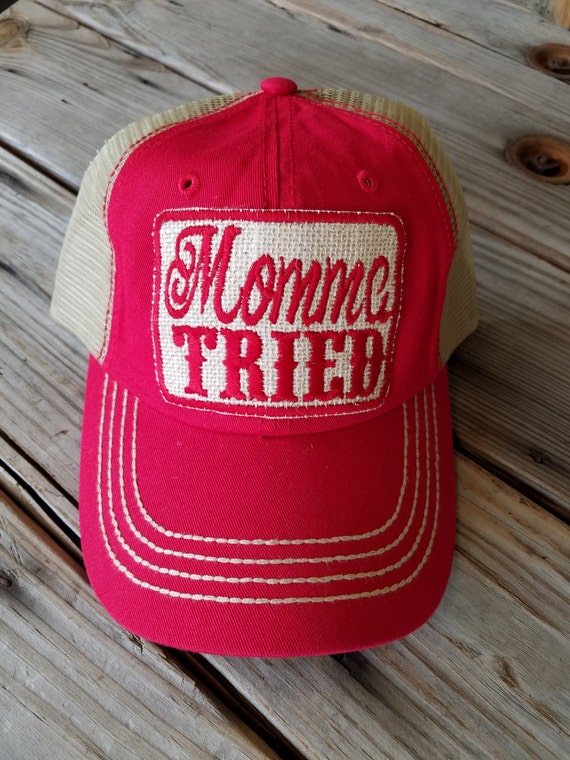 Momma Tried Trucker Hat with patch Handmade patch womens  e5d75e26d2