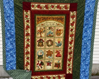 12 Days of Christmas Quilt Throw Lap Quilt