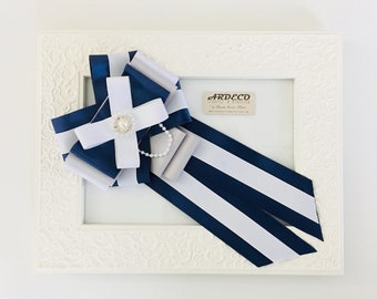 Victorian Bow Tie / Blue Navy, Gray and White Bow Tie
