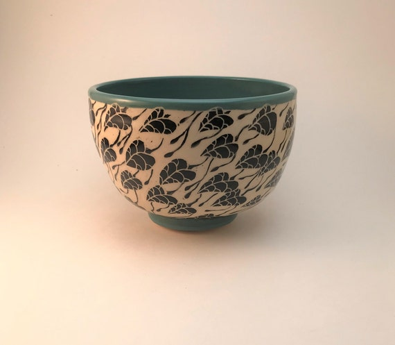 Vintage Carved Marble Bowl with Sgraffito Drawings on All Sides Hand Made Original