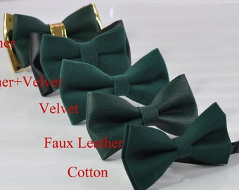 Youth Boy Baby Gold Leather Bow tie for Men Emerald Hunter Green Velvet