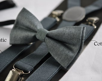 6d093567160a Mottled Deep Grey Gray Bow Tie Bowtie + Matched Elastic Suspenders Braces  Sets for Kids Page Boy Toddler or Youth Teenage or Adult