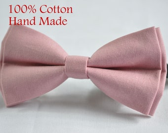 e79937227b45 Men 100% Cotton Quality Dusky Dusty Rose Pink Blush Pink Handmade Bow Tie  Bowtie matched pocket Square Hanky Handkerchief Wedding