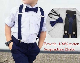 2752fde5fa7f Navy Blue Solid 100% Cotton Bowtie Bow Ties + Navy Blue Clip-on Braces  Elastic Suspenders for Baby Kids Page Boy Toddler or Youth Teenage