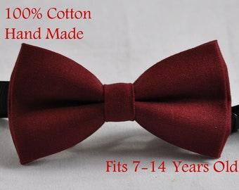 Teenage Boy KIDS 7-14 Years Old Dark Red Maroon Necktie Adjustable Tie Wedding
