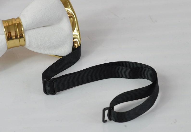 White Velvet /& Gold Faux Leather Bow tie Black Elastic suspenders braces Men Adult  Youth Teenage  Boy Kids  Baby infant toddler