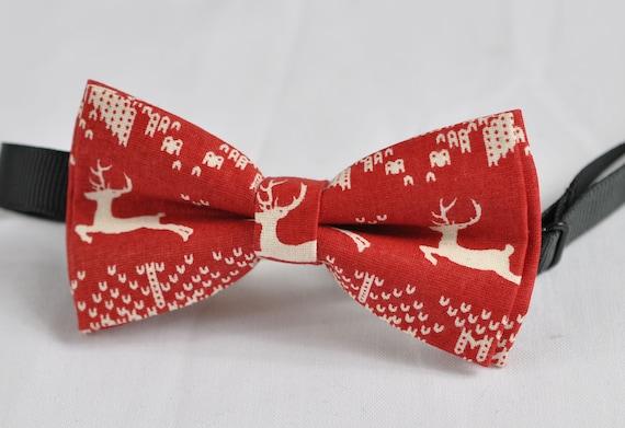 KIDS BOYS Baby 100/% Cotton Xmas Christmas Elk Deer  Bow Tie Bowtie 1-6 Years Old