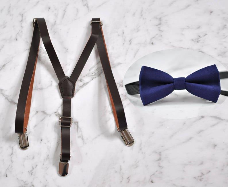 BOYS KIDS BLACK Braces Elastic 15mm Skinny Suspenders Bowtie Bow Tie 1-8 Years
