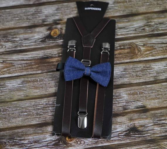 Boy Baby Kids Navy Blue Denim Bow Tie and Elastic Suspenders Sets 1-8 Years Old