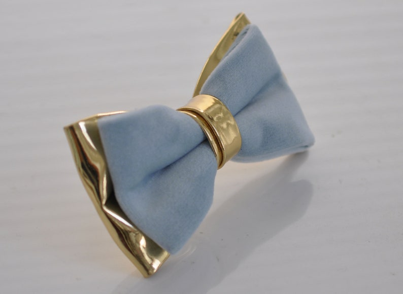 Baby Blue Light Blue Velvet and Gold Faux Leather Pre tied Bow tie Bowtie for Adult Men  Youth Teenage  Boy Kids  Baby Infant Toddler