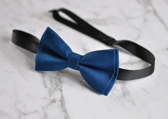Boy Kids Baby 100/% Cotton Mottled Ink Petrol Blue Bow Tie Bowtie 1-6 Years Old