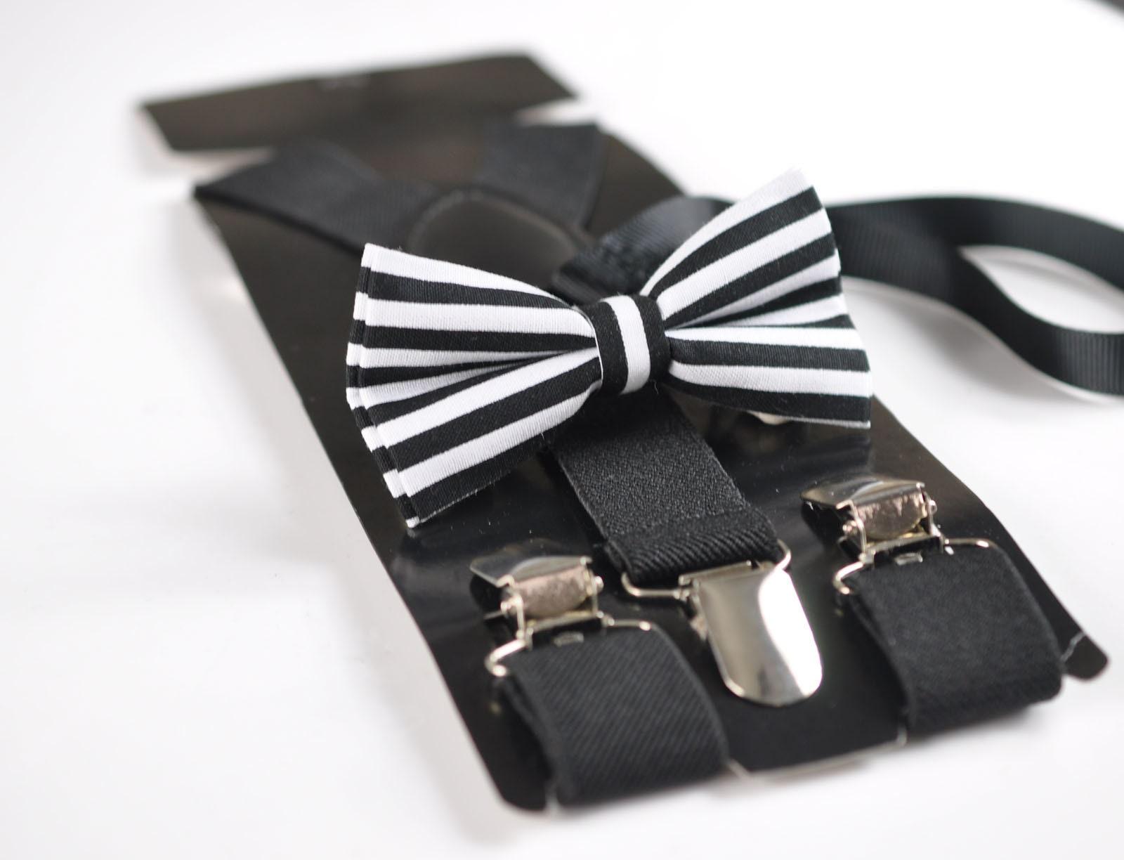 BABY BOY KIDS BLACK Braces Suspenders ELEMENTS STRIPE BLACK Bowtie Bow Tie