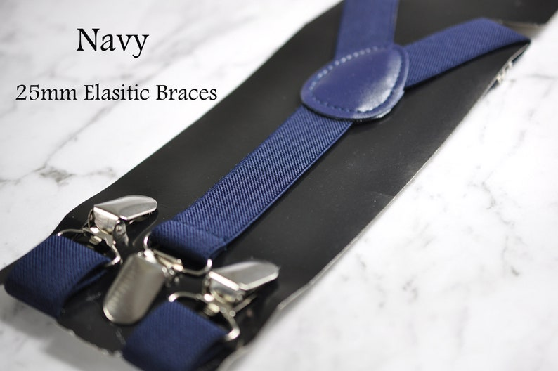 Navy Blue Denim Gold Faux Leather Bow Tie Navy Blue Elastic Suspenders Braces for Men  Teenage  Boy Kids  Baby Infant Toddler