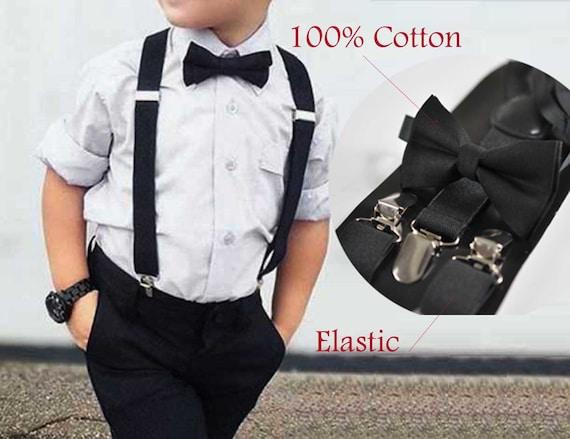 "35mm Wide Mens Adjustable Braces Matching /""Black/"" Suspender /& Bow tie Set"
