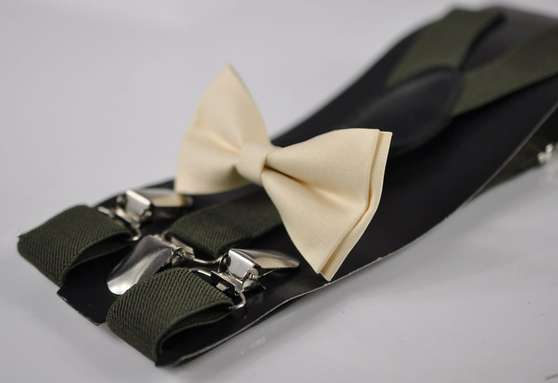 Off-White Ivory Cream Cotton Bow tie Army Green Elastic Suspenders Braces For Men Adult  Youth Teenage  Boy Kids  Baby Infant Toddler