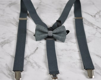 Boy Baby Kids Page Boy Cotton Mottled Deep Grey Gray Bow Tie Bowtie + Matched Elastic Suspenders Braces Sets 1-6 Years Old Wedding Party