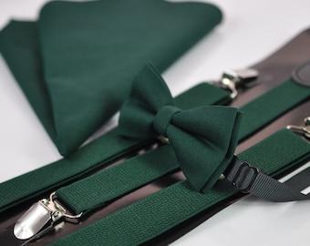 Dark Emerald Green Cotton Bow tie + Elastic Suspenders Braces + Pocket Square Hanky Handkerchief for Men / Youth / Boys Kids / Baby Infant