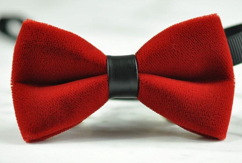 Men Fashion Burgundy DARK WINE RED Velvet Bow Tie Bowtie Craft Wedding Party