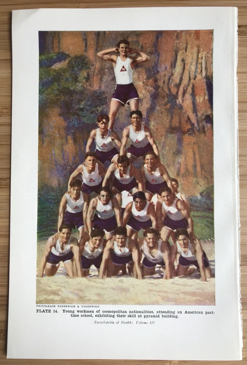 Vintage art print medical bookplate gymnastics pyramid physical culture  gymnastics acrobatics photo art