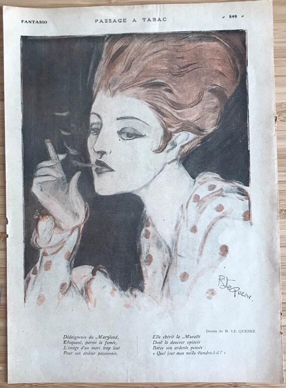 Vintage Art Deco Portrait Art Print Smoking Woman Lady French Magazine Illustration Wall Art Beautiful 1920s Flappee Girl