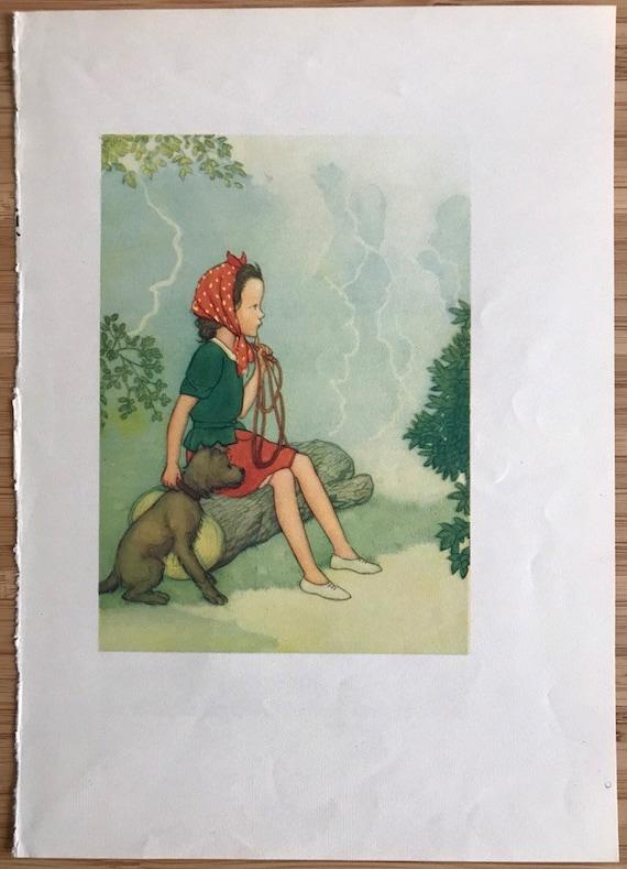 girl reading book large dog Vintage framed print