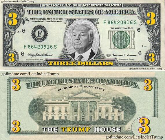 100 trump three dollar bills etsy